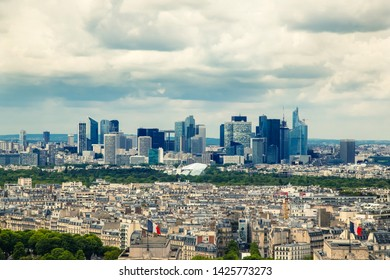 view from Eiffel tower on famous La Defense business area in Paris. France