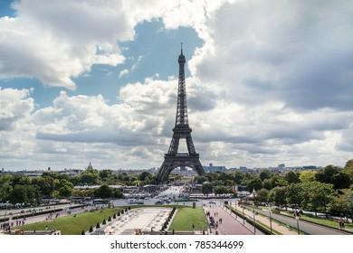 View of the Eiffel tower in Paris. Paris beautiful destinations in Europe, PARIS - AUGUST , Eiffel Tower in Paris, France , Eiffel Tower from Bir-Hakeim metal bridge, The Eiffel tower at sunrise