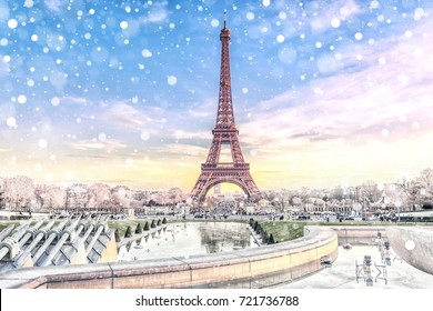 View of the Eiffel Tower in Paris at Christmas time, France. Romantic travel background