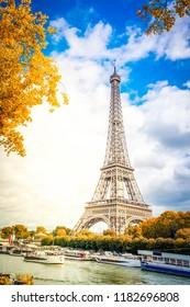 view of Eiffel Tower and ships at fall, Paris France