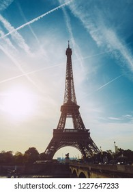 View of the Eiffel tower at sunrise, Paris, France.