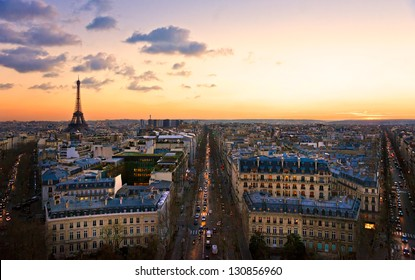 View of the Eiffel tower at sunset, Paris.