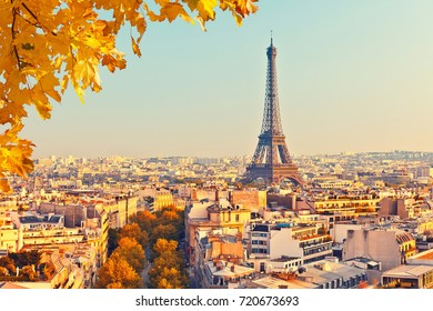 View of Eiffel tower at sunset, Paris, France