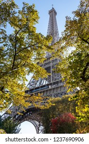 View to Eiffel Tower through the trees. Romantic atmoshpehere in the city of lovers. Autumn time. Paris, France