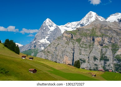 View of Eiger Mountain from the Grindelwald Valley. Swiss Alps