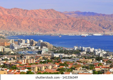 View to Eilat city, famous international resort - the southest city of Israel.