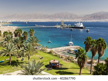 View from Eilat south district towards Aqaba in Jordan, Eilat. Israel