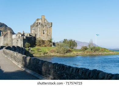 View of the Eilean Donan Castle and it's lake in a sunny day at the morning. Scotland, UK