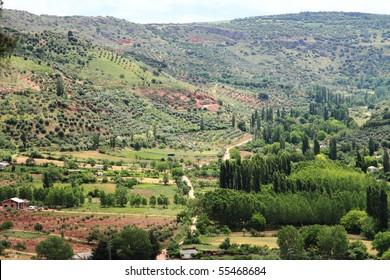 View from El Corralon viewpoint in Alcaraz village ,Olive trees in Alcaraz mountain range. Albacete province, Spain