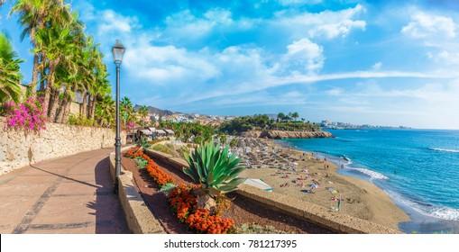 View of El Duque beach at Costa Adeje. Tenerife, Canary Islands, Spain