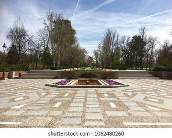 View of El Retiro Park on sunny day in early spring, Madrid, Spain, Europe 1-4-2018