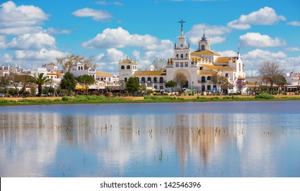 View of El Rocio and lake, Andalucia, Spain