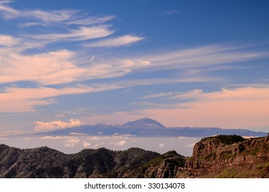 View of El Teide Volcan in Tenerife From Gran Canria Mountains Canary Islands Spain