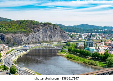 A view of the Elbe river with Mariansky bridge in Ústí nad Labem (Czechia) from Vetruše hill lookout