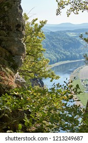 View from the Elbe Sandstone Mountains to the valley of the River Elbe