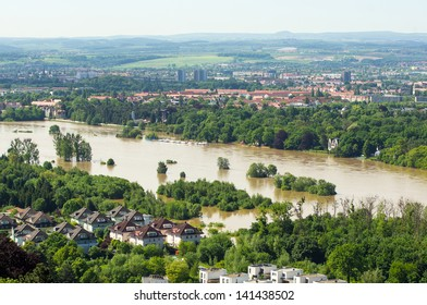 View to the Elbe valley during inundation 2013, Elbe 840cm high