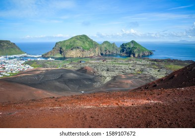 View from Eldfell, volcanic cone just over 200 metres high on the Icelandic island of Heimaey