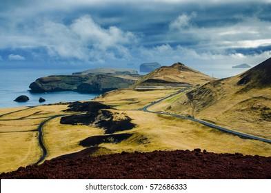 The view from Eldfell volcano, Heimaey, Westman Islands (Vestmannaeyjar), Iceland.