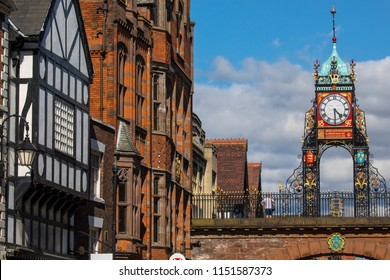 A view of the elegant Eastgate Clock in the historic city of Chester in Cheshire, UK.