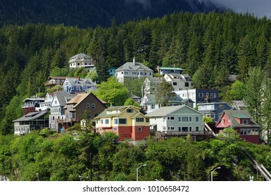 A view of elevated houses in Ketchikan, Alaska.