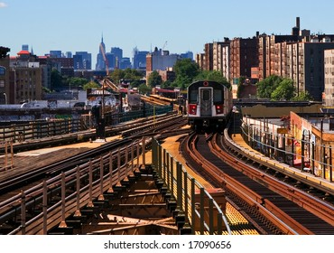 View of elevated train on downtown route to the city.