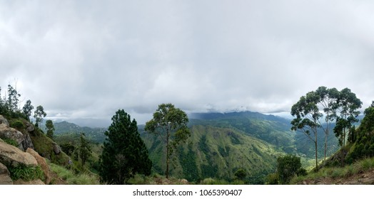 View from Ella Rock on Small Adams Peak in Sri Lanka. Green mountains and gray sky
