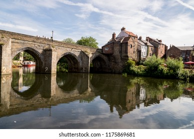 View of the Elvet Bridge across the River Wear in the city of Durham in north east England - United KingdomPhoto Taken on August 05 2018