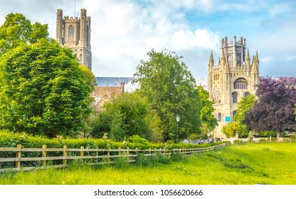 View of the Ely Cathedral from Cherry Hill Park in Ely, Cambridgeshire, Norfolk, UK