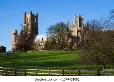 A view of Ely Cathedral on a fine sunny day.