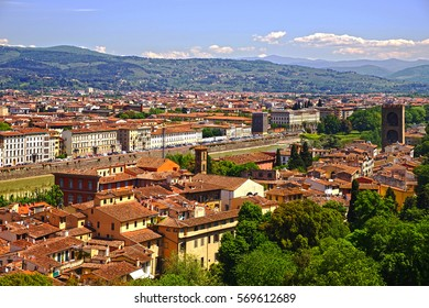 View of the embankment of the Arno river from the observation deck of the Boboli gardens. Florence, Tuscany, Italy