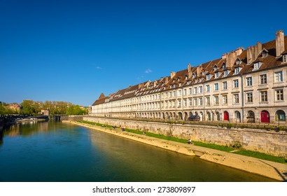 View of embankment in Besancon with tram on a bridge - France