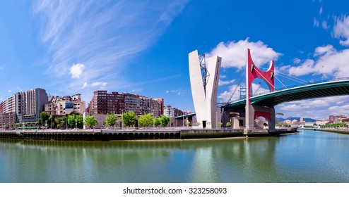 view of embankment of river Nervion O de Bilbao, district Uribitarte, Bilbao, Spain