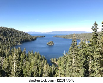 View of Emerald Bay at Lake Tahoe in summer.