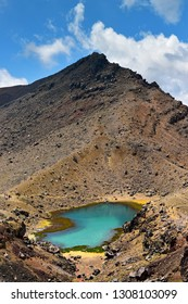 View of Emerald Lake along Tongariro Alphine Crossing in New Zealand