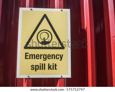 View Emergency Spill Kit Signage Oil Stock Photo Edit Now