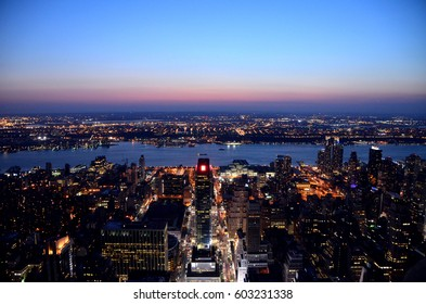 A view from Empire State Buildin to Manhattan New York and Hudson river