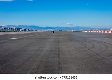 View to empty airport runway in Gibraltar