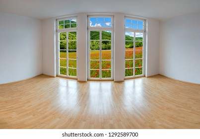 View from an empty apartment through a large window to romantic landscape with poppy flowers