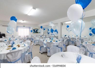 View of an empty blue boyl baptism celebration.