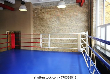 View of empty boxing ring in gym