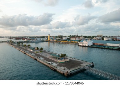 The view of an empty Nassau city port after the sunset (Bahamas).