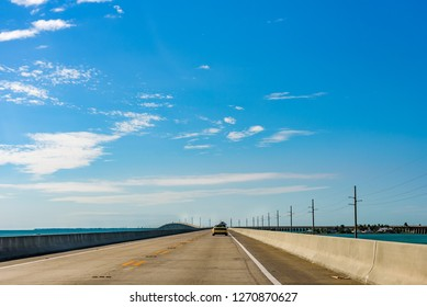 View of the empty Overseas Highway that runs through the Florida Keys leading to Key Westflorida,bridge,usa,marathon,7 mile bridge,7 miles,amazing landscape