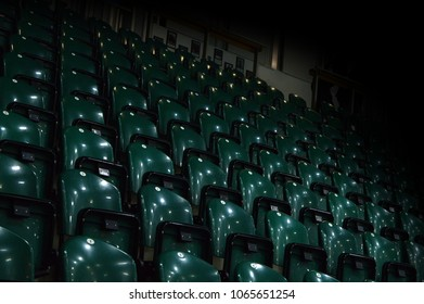 View of empty seats at a hockey arena.