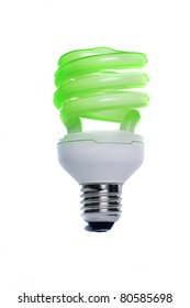 View of a energy efficiency light bulb isolated on a white background.