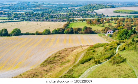 View of English countryside from Dunstable Downs in the Chiltern Hills, Bedfordshire, UK