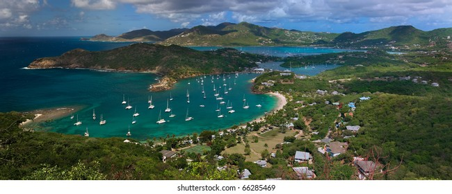 View of English Harbour and Falmouth Harbor from Shirley Heights Area of Antigua.