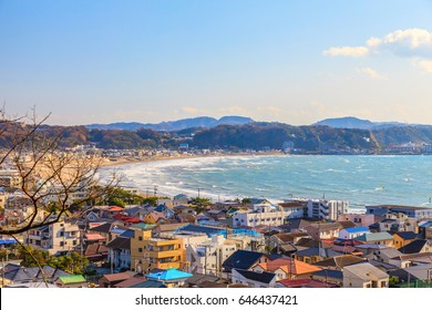 View of Enoshima bay, Enishima Island, Autumn season in Kamakura, Japan