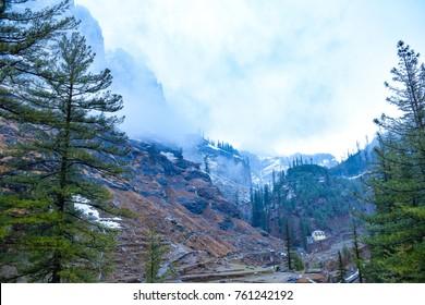 View enroute to Rohtang Pass, Manali, Himachal Pradesh, India.
