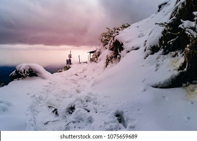 View enroute to Triund hiking trail after heavy snowfall in winter at Mcleodganj, Dharamsala, Himachal Pradesh, India. Triund hill top offers view of snowcladded himalyan peaks of Dhauladhar range.
