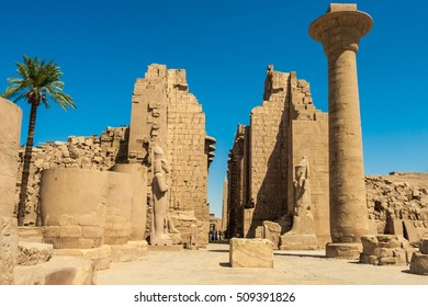View of the entrance to the abandoned Ancient Egyptian Temple of Luxor, Cairo, Egypt